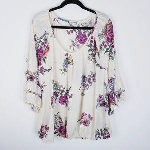 Eyeshadow plus size semi sheer floral blouse 2x
